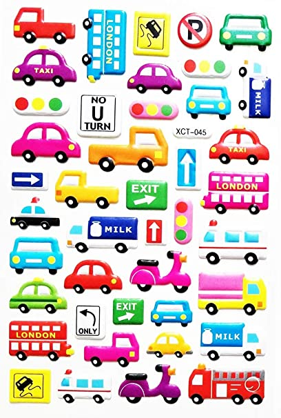 Amazon com: PP Stickers 1 Sheet Transportation Stickers Cars