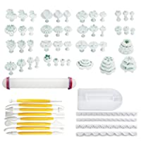 Sungpunet Cake Decorating Tools 68Pcs Fondant Icing Plunger Cutter Tools Rose Flower Leaf Moulds Set with Icing Smoother & Rolling Pin