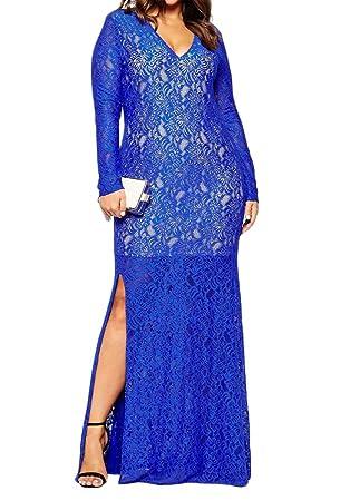 Encaje Vestidos De Fiesta Largos Vestido Mujer Manga Larga Vestido De Noche - Azul - 6XL