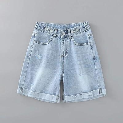 Agujero Simple y versátil Rizado Pantalones de Mezclilla Verano Cintura Alta era Delgado Pantalones Casuales de Las Mujeres de Mezclilla Azul 27: Ropa y accesorios