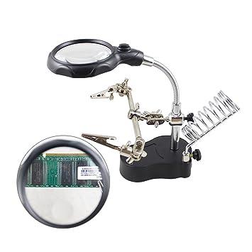 IDABAY Lupa profesional de reparación con luz LED Lupa con base para cautín y pinzas auxilias para soldador Lupa con cuello giratorio 360°: Amazon.es: ...
