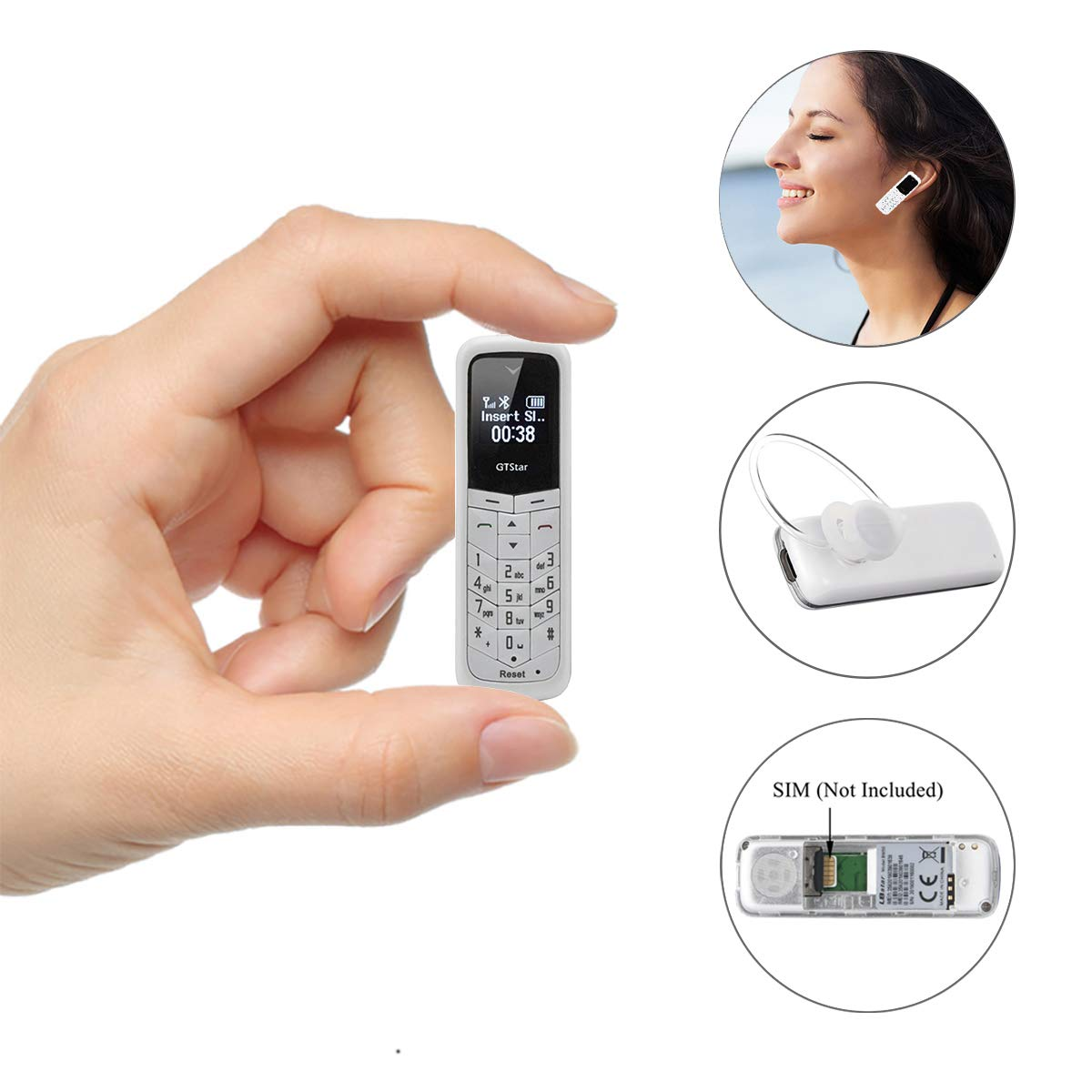 Bluetooth Mini Mobile Phones Supported Sim Card (White)