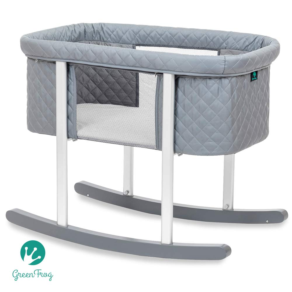 Baby Bassinet Cradle Includes Gentle Rocking Feature, Great for Newborns and Infants Safe Mattress Includes Wheels for Easy Movement High End Washable Fabric Lightweight (Grey (Diamond))