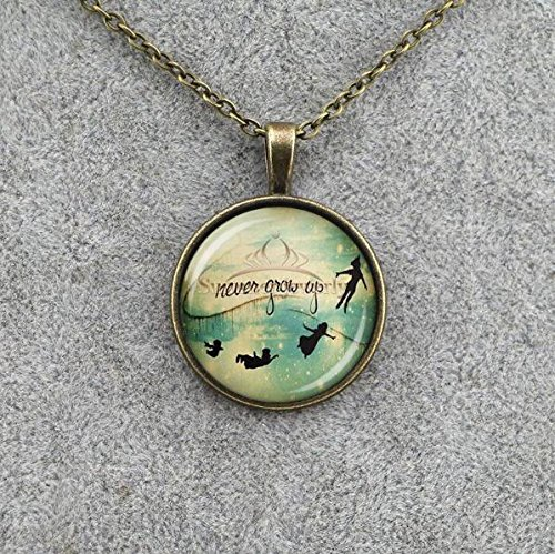 Peter Pan Jewellery - Never grow up necklace peter pan necklace peter pan quote disney movie jewelry peter pan jewelry pan and hook lost boys flying necklace