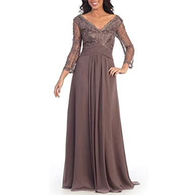 ABwedding Women 3/4 Sleeve Prom Dress Long Lace Chiffon Evening Dress UK Size6 Champagne