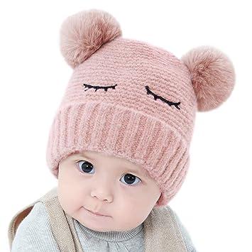 gorra de punto c/álido de invierno para beb/és de 0 a 1 a/ño de edad rosa rosa Talla:talla /única Sombrero de beb/é con lazo para reci/én nacido