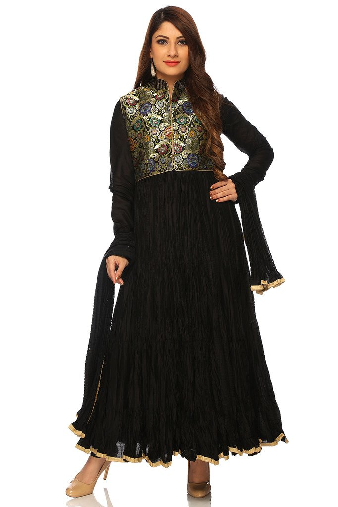 BIBA Women's Anarkali Cotton Silk Suit Set 38 Black