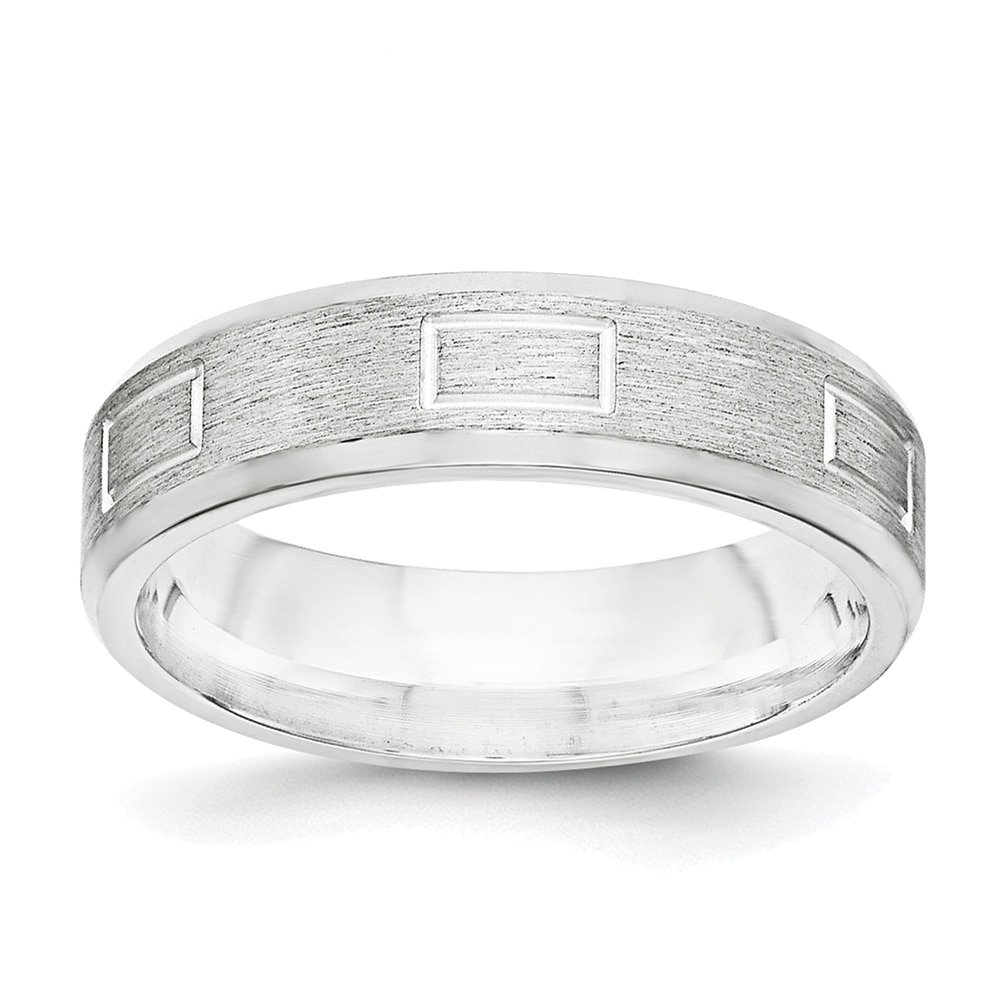 Lex /& Lu Sterling Silver 6mm Brushed Fancy Band Ring LAL100606