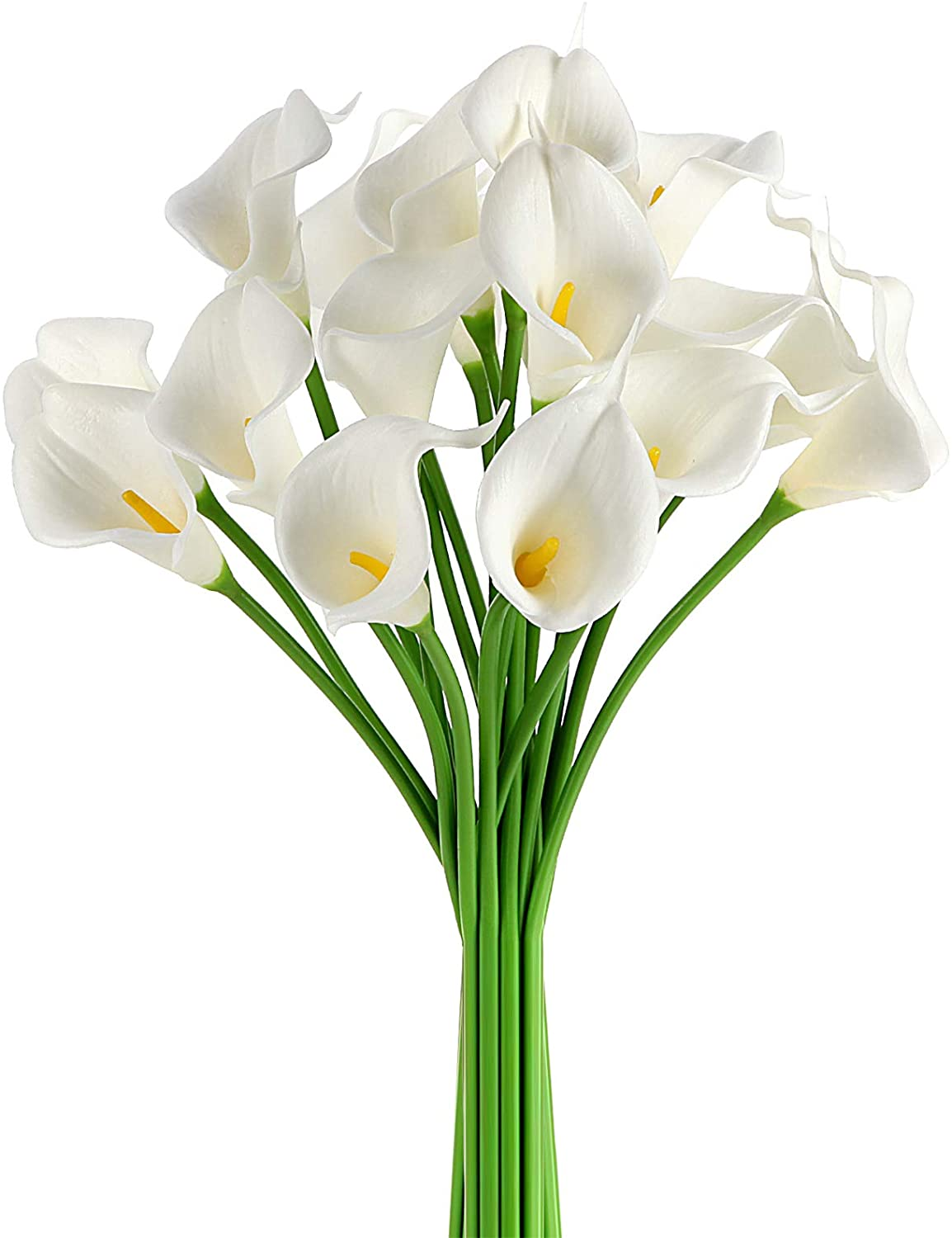 Ezflowery 10 Artificial Calla Lily Flowers Real Touch Latex Arrangement Bouquet Wedding Centerpiece Room Office Party Home Decor, Excellent Gift Idea (Small - 10 Pack, White)