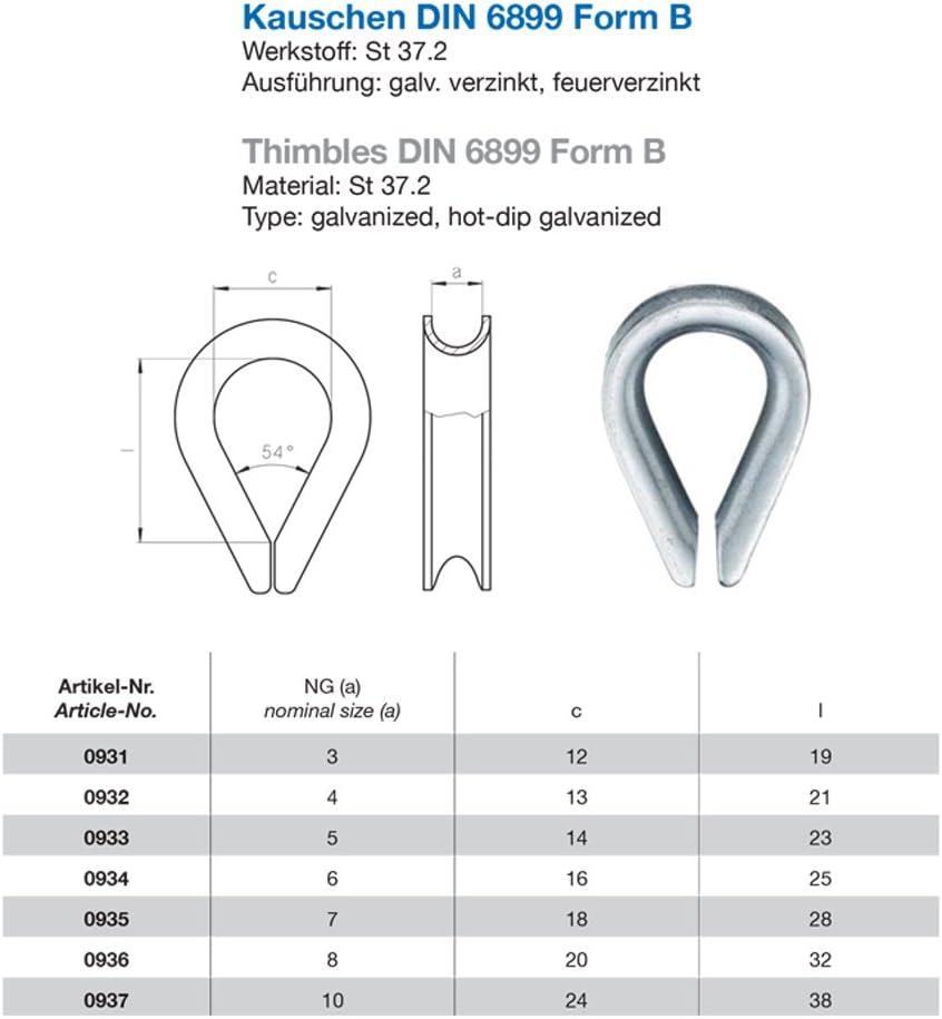 DIN 6899 Form B Seil 9mm Seilkausche Drahtseil/öse 10x Kausche 10mm verzinkt /ähnl