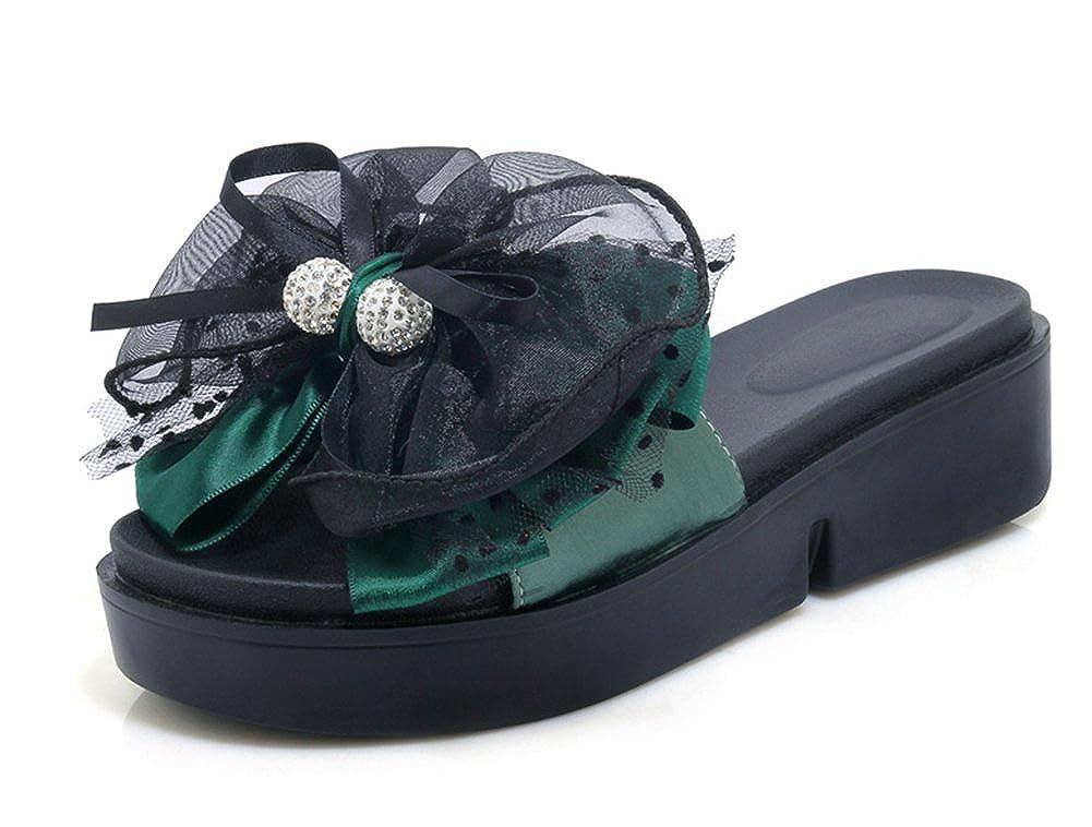 Aisun Damen Seiden Gaze Schleife Strass Perlen Urlaub Durchgängig Plateau Urlaub Perlen Flach Pantoffeln Grün 110e48