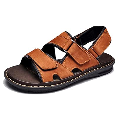 3 Color US Size 5-12 New Fashion Genuine Leather Mens Casual Walking Hiking Flats Sandals Shoes