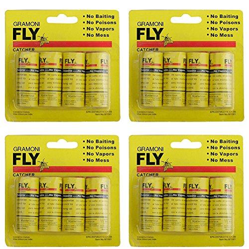GRAMONI 16PCS Fly Paper Ribbons,Fly Paper Strips,Fly Trap,Sticky Fly Catcher Trap, Fly Catcher Ribbon (Bug Strip)