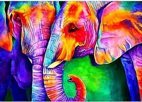 5D DIY Full Drill Diamond Painting Elephant Pattern Cross Stitch Tool Set Rhinestone Embroidery Kit Wall Picture Home Decor Art Craft