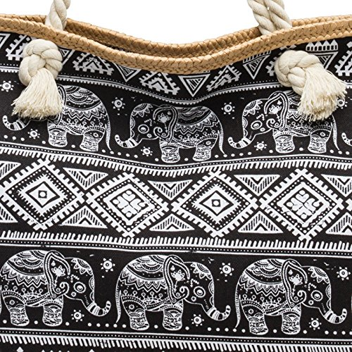 Estampado de TS1042 Elefantes CASPAR Bolso Bolso para de Negro Mujer Mano de XL Shopper con Playa x7wdtUw