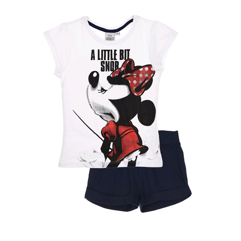 COMPLETO ESTIVO CORTO MINNIE T-SHIRT + SHORT DISNEY 3/8 ANNI - EP1581BIANCO SUN CITY