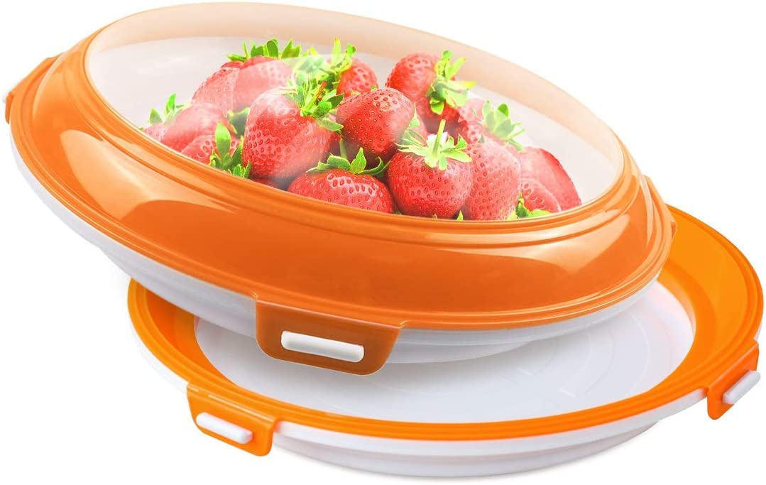 Food Preservation Trays Reusable Food Trays Stackable Food Trays Storage Container with Elastic Lid BPA Free For Refrigerator Keep Food Fresh 2Pcs(Orange)