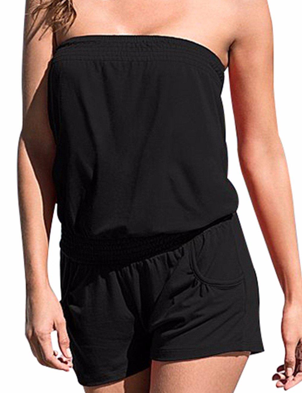 Sexyshine Women's Strapless Off Shoulder Printed Beachwear Short Rompers Jumpsuits Black1,M