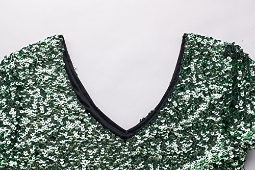 Dress Short Bodycon Bule Party Sexy V Sleeve Multicolored Green Gowns MANER Sequin Glitter Mint Green Mini Club Women's Neck fwqH7X