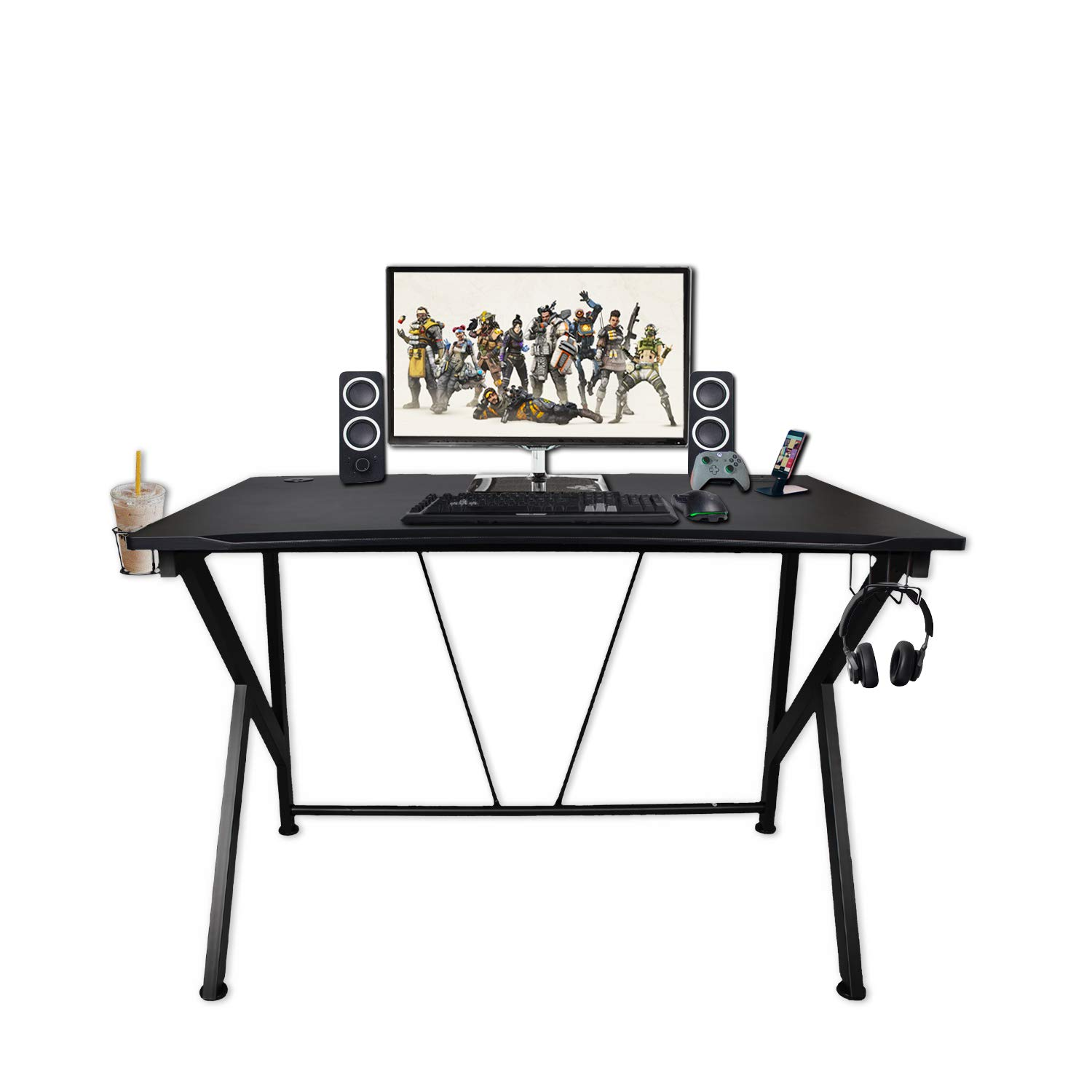 K-Shaped Gaming Desk 45.7 Black Carbonized Pattern Gaming Table Home Computer Desk with USB Charging Port,Cup Holder and Headphone Hook Gamer Gaming Table Desk