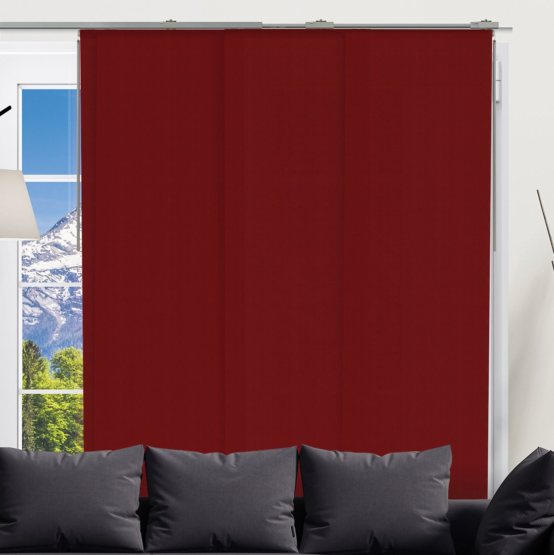 Chicology Adjustable Sliding Panel Quad Rail Track/Cordless Blind/Privacy Light Filtering Fabric, Allure Burgundy, 200 x 245 cm QRSPAB1