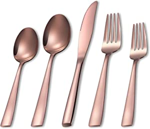 Flatware Set for 4, MEJAJU 20-Pieces Silverware Set, Stainless Steel Eating Utensil Set with Gift Box, Include Knife, Forks and Spoons for Home or Restaurant, Dishwasher Safe (RoseGold)