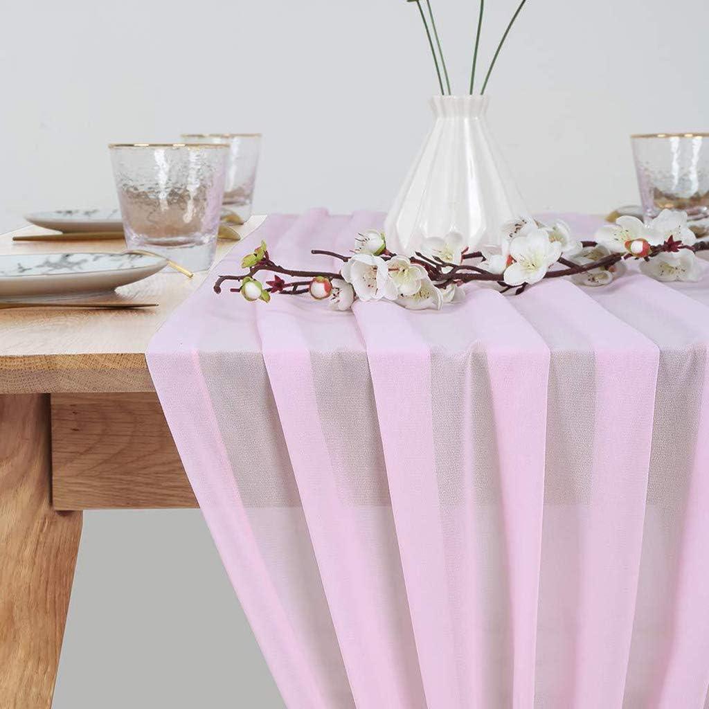 Approx Koobysix Chemin de Table en Mousseline de Soie Extra Long et Romantique 305x70cm Rose Mousseline