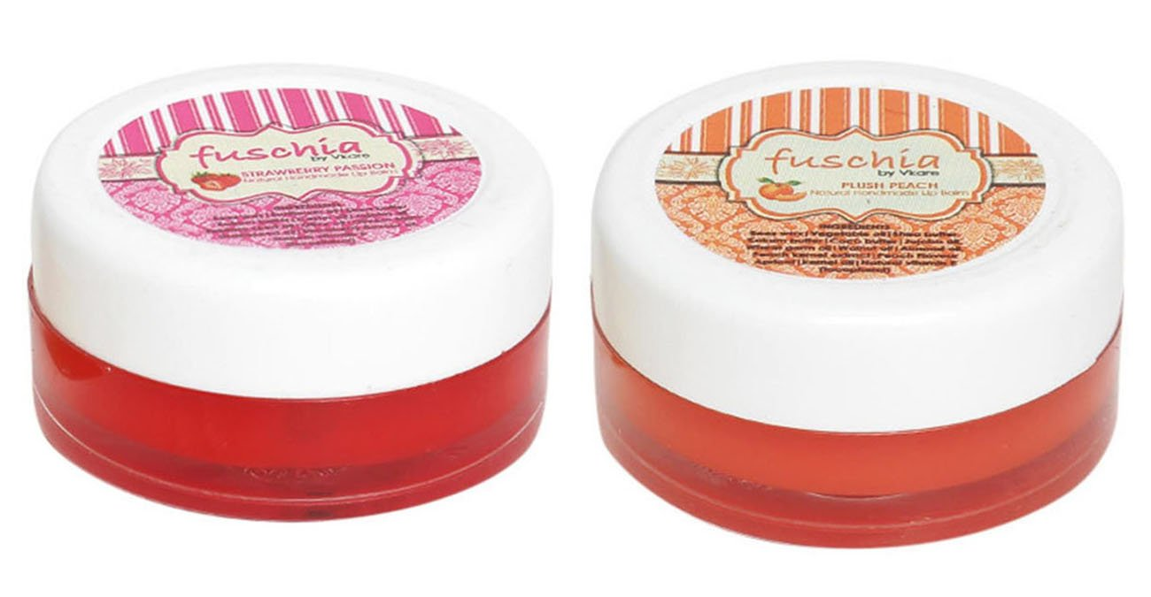 Pack Of 2 Pieces Fuschia Strawberry & Peach Lip Balm Parable's Free - 0.5 Ounce