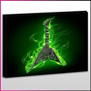 MU142 música de guitarra eléctrica de llamas verdes One impresión de lienzo, música, arte