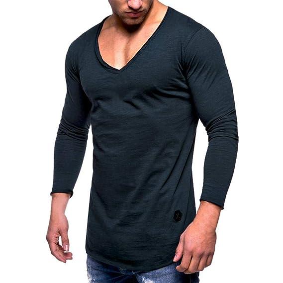 Camiseta de Manga Larga para Hombre,ZARLLE SóLido Cuello En V Casual Deporte Delgado BáSica