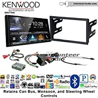 Volunteer Audio Kenwood DMX7704S Double Din Radio Install Kit with Apple CarPlay Android Auto Bluetooth Fits 2003-2005 Volkswagen Golf, Jetta, Passat with Amplified Systems