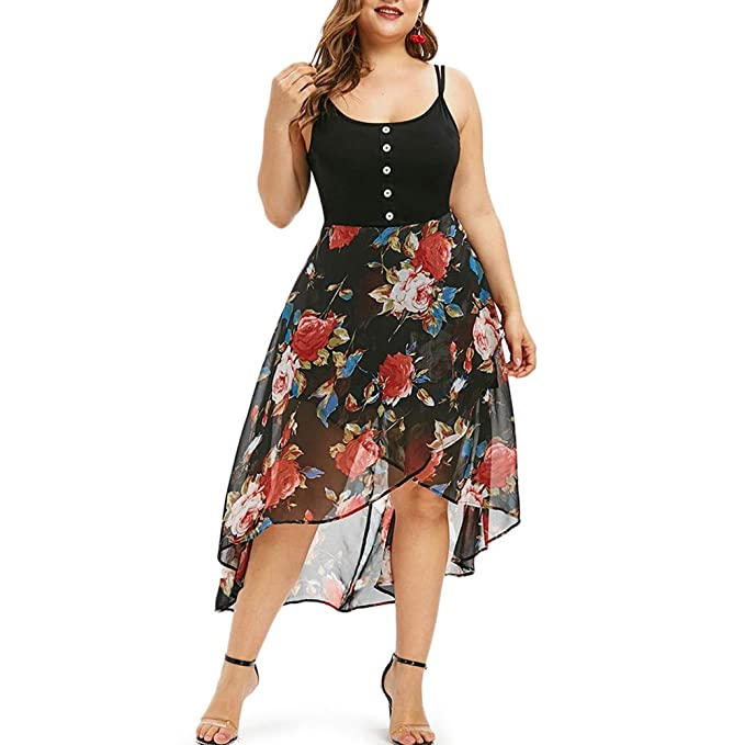 KCatsy Floral Overlay High Low Plus Size Dress at Amazon ...