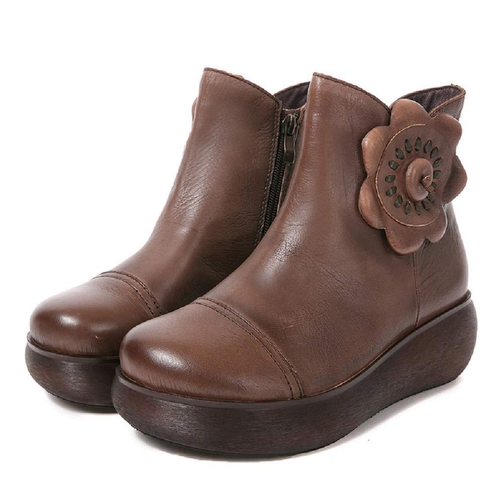 Fuxitoggo Blaumen-Stiefel-Frauen-Plattform-handgemachte Reißverschluss-Leder-Schuhe (Farbe   Braun, Größe   EU 36)