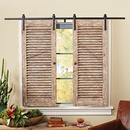 Black Forest Decor Barnwood Sliding Shutter Set