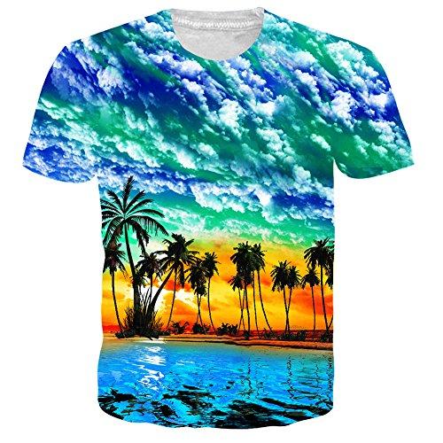 UNIFACO Teens Short Sleeve Funky Hawaiian Palm Tree T-Shirt Tees l (Live Pineapple Palm Tree)