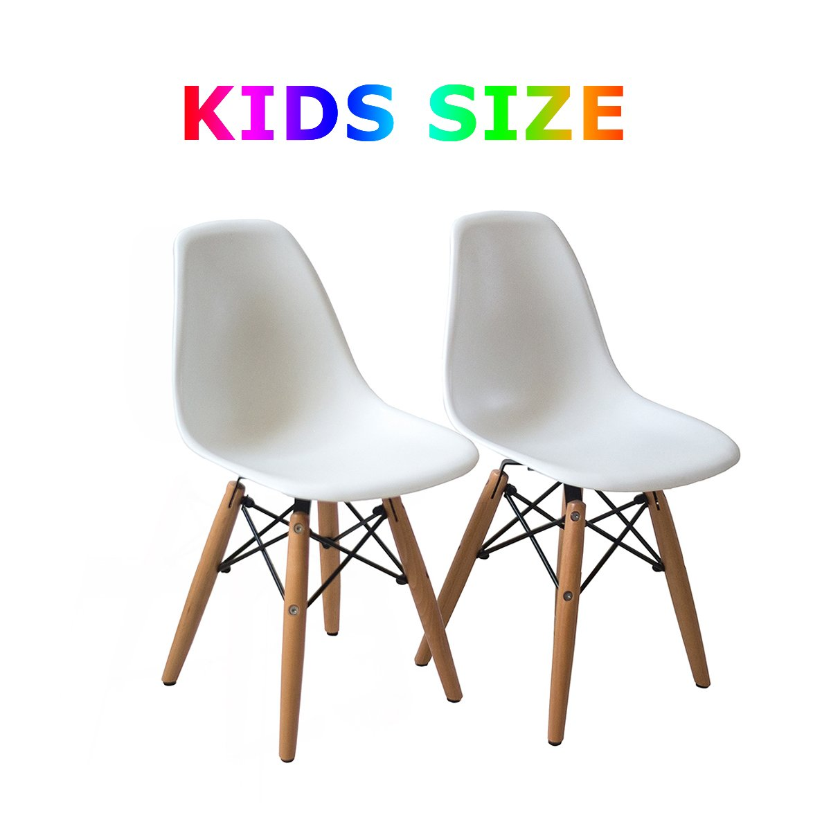 Amazon.com - Buschman Set of Two White Eames-Style Kids Dining Room Mid Century Chair Wooden Legs Armless Chairs - Chairs  sc 1 st  Amazon.com & Amazon.com - Buschman Set of Two White Eames-Style Kids Dining Room ...