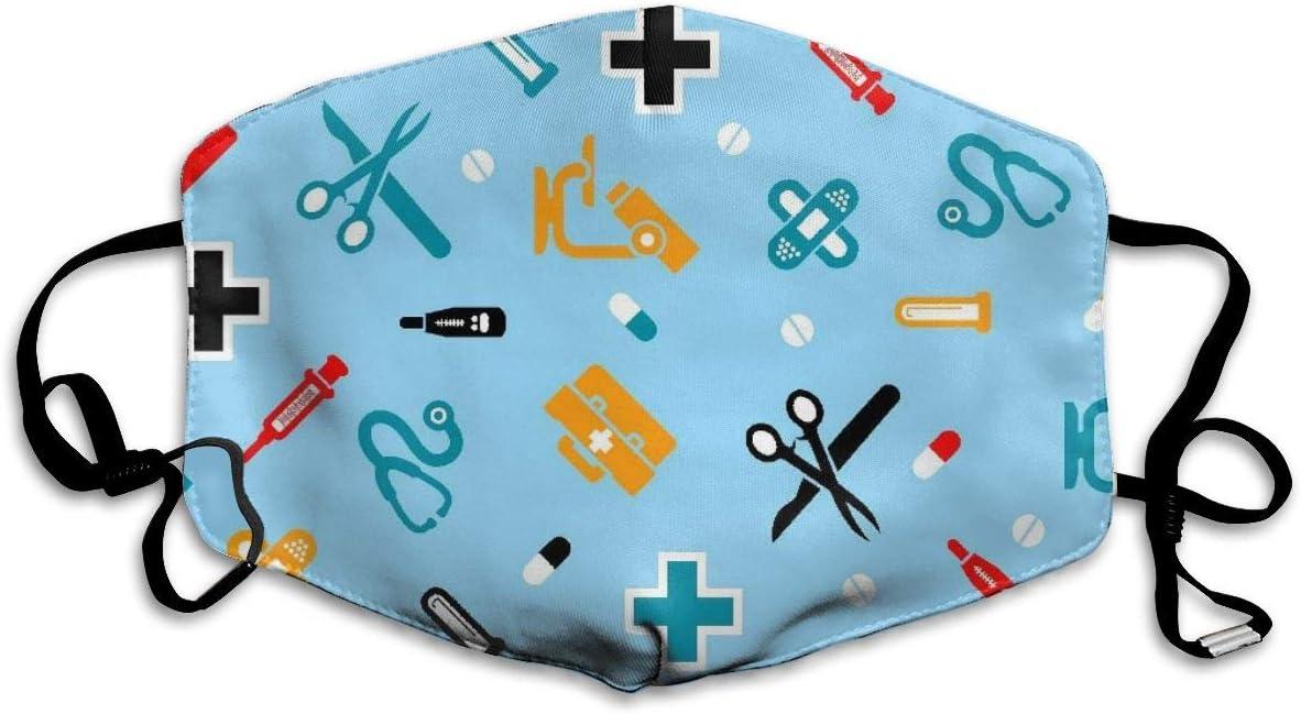 OUYouDeFangA - Máscara bucal unisex para enfermeras, lavable, segura, 100% poliéster, cómoda, transpirable, media cara
