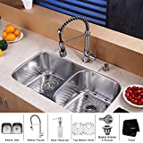Kraus KBU22-KPF1612-KSD30CH 32 inch Undermount Double Bowl Stainless Steel Kitchen Sink with Chrome Kitchen Faucet...