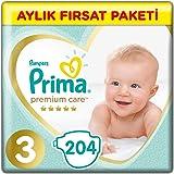 Prima Bebek Bezi Premium Care 3 Beden Midi Aylık Fırsat Paketi, 204 Adet