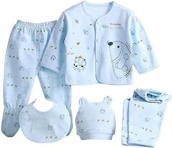 heling896 Juego de Ropa Interior para bebés 5pcs Bebé recién Nacido niños niñas, 100 algodón Respirable Sombrero del bebé Peto Superior 2 Pares de Pantalones 0-6 Meses: Amazon.es: Hogar