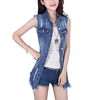 Tanming Women's Sleeveless Button Down Ripped Denim Jean Vest Waistcoat Jacket at Women's Coats Shop
