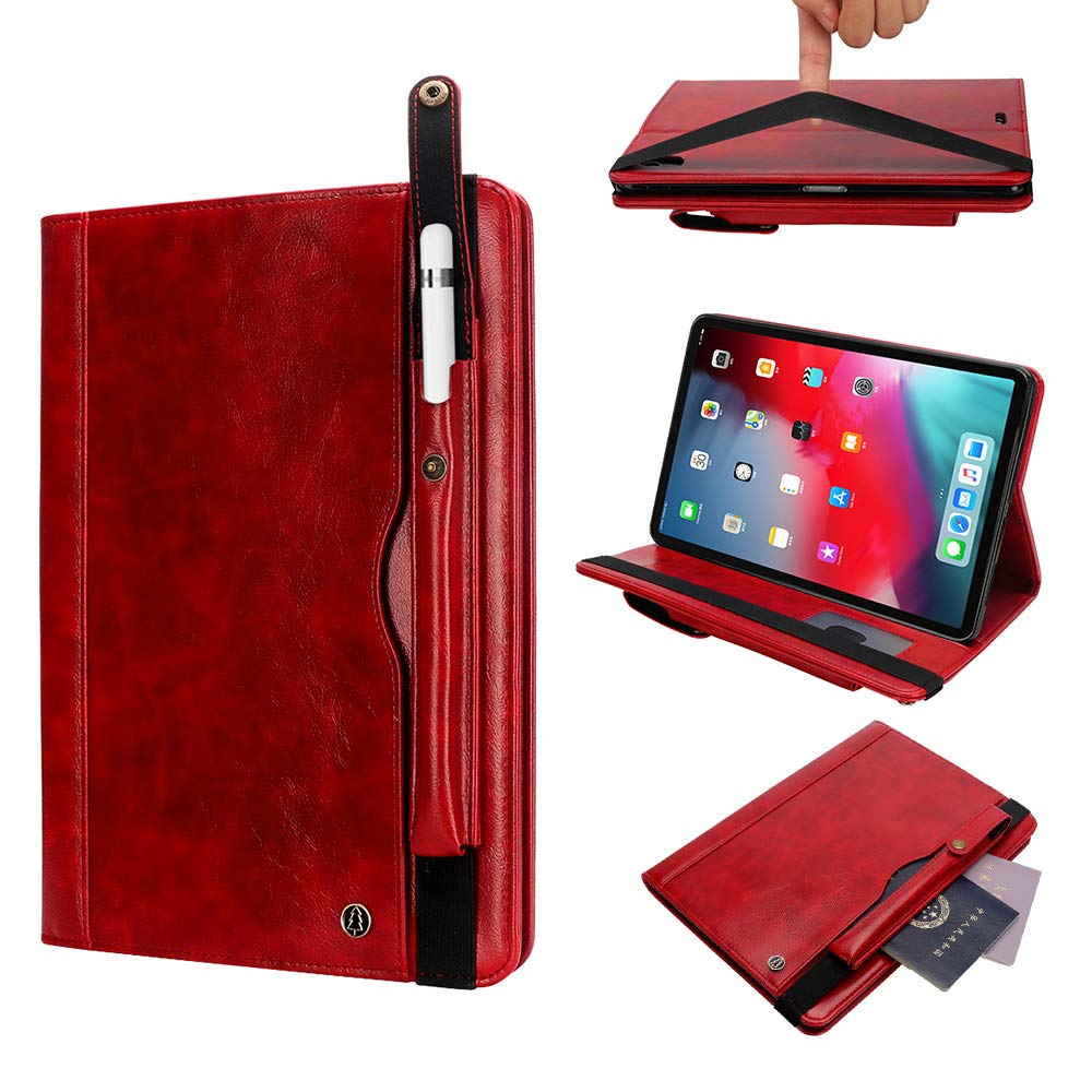 2019 3rd Gen iPad Air Case, YiMiky Luxury PU Leather Cover Business Style Folio Case Screen Protection Auto Sleep Wake Kickstand Slim Smart Shell for iPad Air 3 2019/ iPad Pro 10.5 Inch 2017 - Red by YiMiky