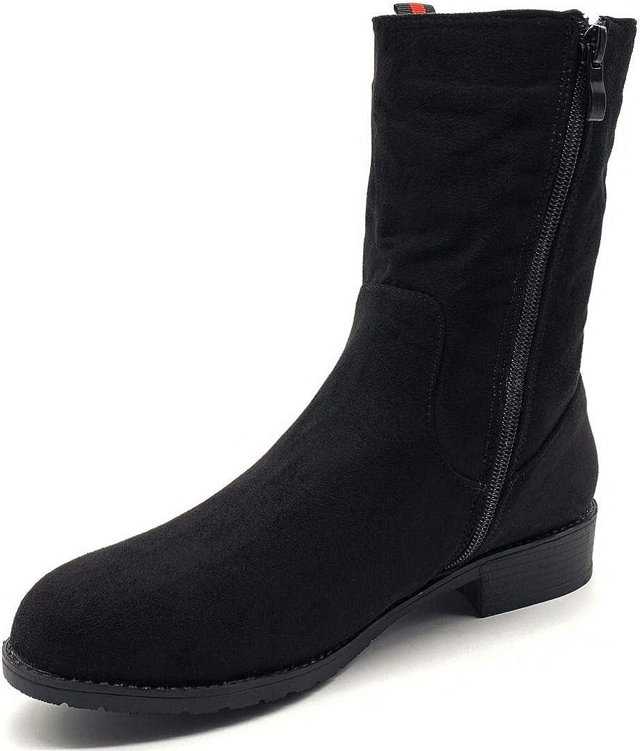 Angkorly - Damen Schuhe Stiefeletten Stiefel - nüchtern - Biker - Reitstiefel Kavalier - Basic Blockabsatz 4 cm Schwarz 2