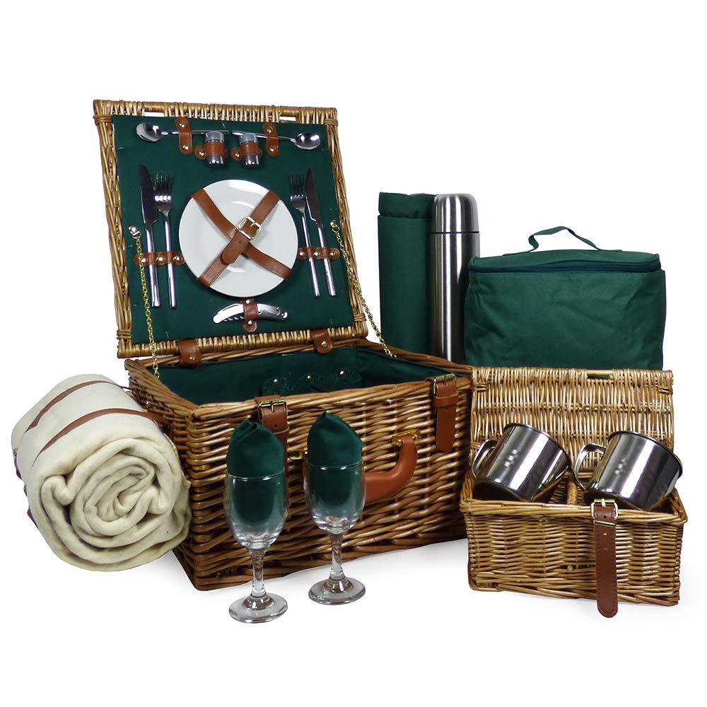 Ideas de regalos para cumplea/ños aniversarios y corporativos bodas Cesta de picnic de mimbre de 2 personas con accesorios en nuestro estilo Ashby
