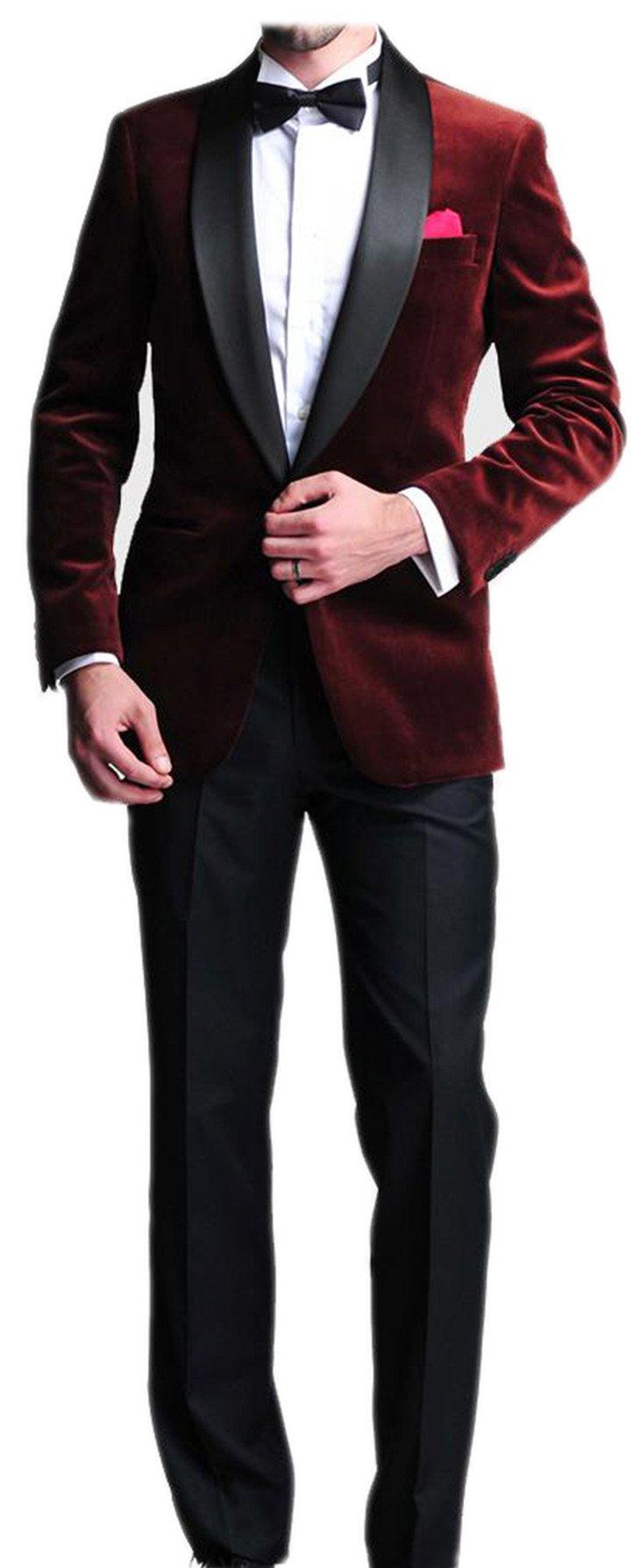 Burgundy Velvet Blazer Man Suit Slim Fit Satin Lapel Groom Tuxedos
