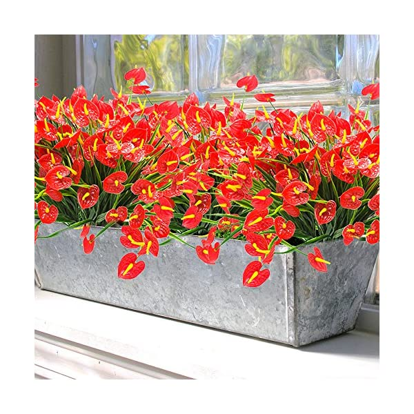 YISNUO-Artificial-Fake-Flowers-Faux-Anthurium-Plants-Plastic-Shrubs-Bushes-Greenery-Indoor-Outside-Hanging-Planter-Home-DecorationsRed