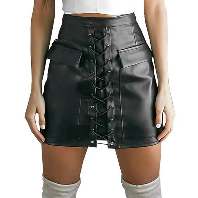 WONDER BEAUTY Mujer Faux Cuero PVC Wetlook Látex Minifalda Cintura Alta Una Línea Corto Ante Mini Falda