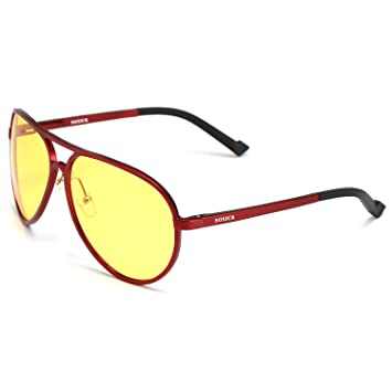 2de41c31d6 Soxick® Mens HD Metal Polarized Night Driving Glasses Sports Sunglasses  (Red Frame Yellow Lens-2)