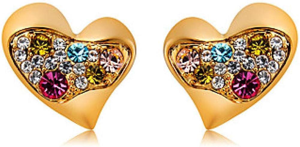Pendientes de perlas clásicas de cristal multicolor para mujer Pendientes de diamantes de imitación chapados en oro Corazón Romántico Joyas lindas modernas Oro para la oficina formal diaria y carrera