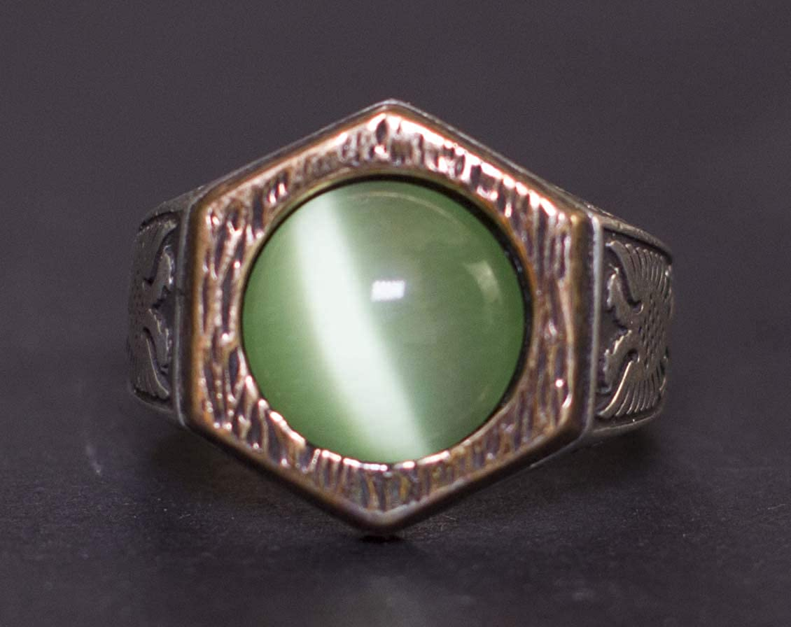 Double Headed Eagle Ring Free Express Shipping Falcon Jewelry 925 Sterling Silver Mens Ring Jade Stone